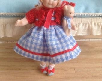 1:12 Scale miniature Porcelain doll  , 1/12th dollhouse porcelain doll, children doll for dollhouses
