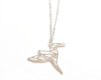 HUMMINGBIRD ORIGAMI NECKLACE, Black Friday, Sale, Cyber Monday, Geometric bird, silver bird  necklace, hummingbird pendant, origami necklace