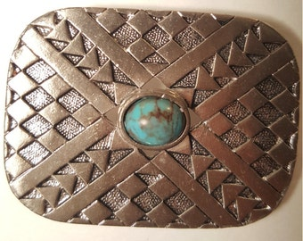 Vintage Southwestern Turquoise & Silver Beetle Pin