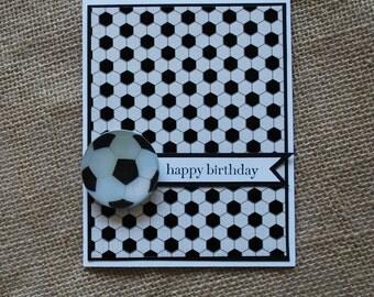 Handmade Greeting Card: Boys birthday, masculine birthday, soccer birthday card