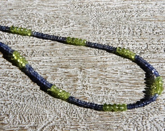 IOLITE & PERIDOT NECKLACE. Tiny purple and green faceted rondelles- S.S.   Everyday/ Fall/winter/sparkle/stripe/Sundance/Boho/therapeutic