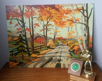 Vintage paint by numbers 1960s. Rural paint by numbers scene. Barn and fall foliage.