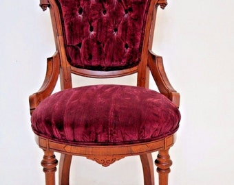 Enchanting Antique Queen Ballroom Parlor Chair Victorian Seat Tufted Velvet Insured safe nationwide shipping available