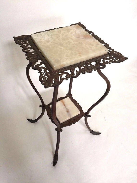 Antique French Regency Ornate Iron Marble Plant Stand Circa