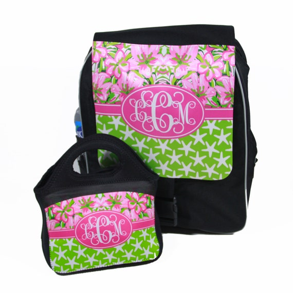 Back To School Monogram Backpack & Lunch Tote Set Preppy Floral Lilly Inspired Personalized Girls School Back Pack Custom Book Bag Lunch