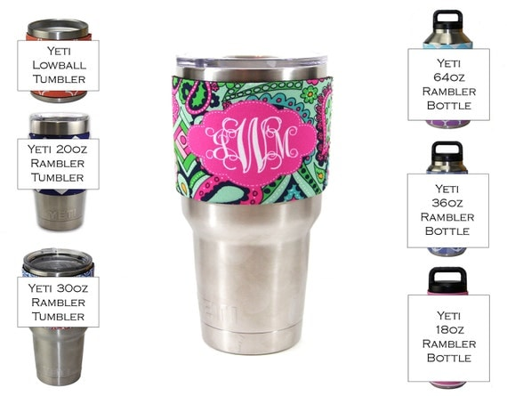 Lilly Inspired Monogram Insulator Sleeve for Yeti Tumbler 20 Oz or 30 Ounces Lowball or Rambler Bottle Custom Tumbler Decal Personalized