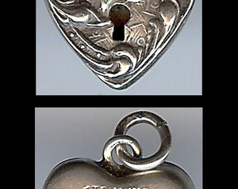 WALTER LAMPL vintage sterling blue flower enamel keyhole HEART padlock charm