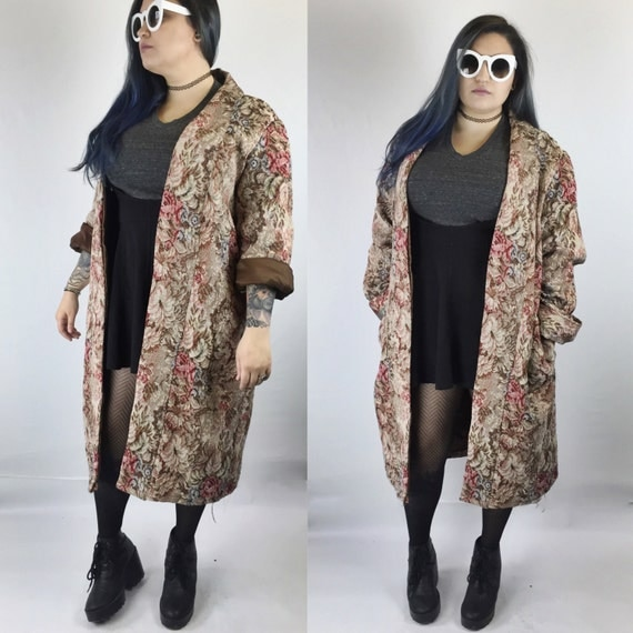 Tapestry Floral Trench Handmade XL - Floral Rose Tapestry Jacket Vintage - Printed Dark Tapestry Woven Upholstery Jacket Womens Vintage Plus