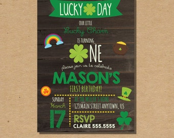 St. Patricks Birthday Invitation, Kids Birthday Invitation, Digital File