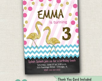 Flamingo Party Invitation - Flamingo Birthday Invitation - Flamingo Invitation -  Pink and Gold Flamingo Invite