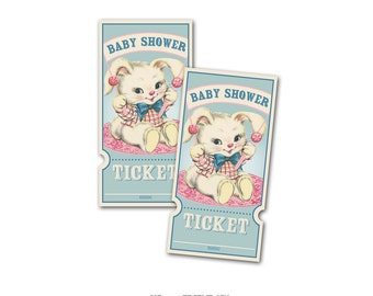 Digital Vintage Bunny Baby Shower Raffle Tickets / perfect for diaper raffle / instant download / gender neutral