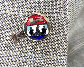 Magnetic tie tack Mag TAK. Lapel pin, tie tack or hat pin. Vintage Nordic enamel design. One of a kind design