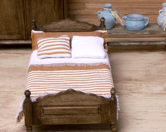 Miniature Bed in Country Style for Your Dollhouse