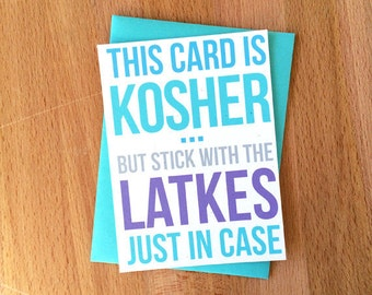 Happy Hanukkah Cards | Kosher Meat Latkes Joke Funny Snarky Unique Sarcastic Family Friend Coworker Chanukkah Jewish Greeting Note