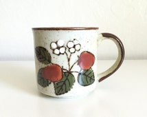 Vintage Speckled Stoneware Mug / Strawberry Mug / Vintage Coffee Mug / Nature Mug / Floral Mug / Shabby Chic Home Decor