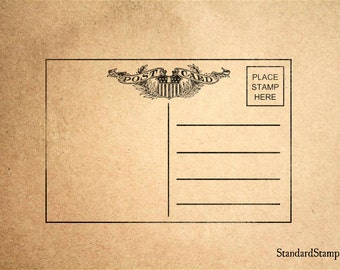 Post Card Stamp Rubber Stamp - 3 x 2 inches