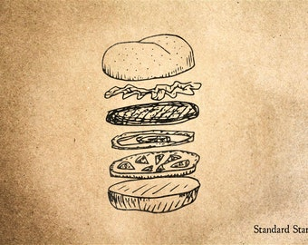 Burger Anatomy Rubber Stamp - 2 x 2 inches