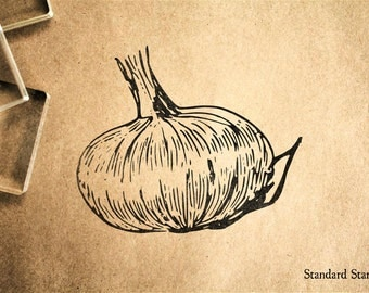 Garlic Bulb Rubber Stamp - 2 x 2 inches