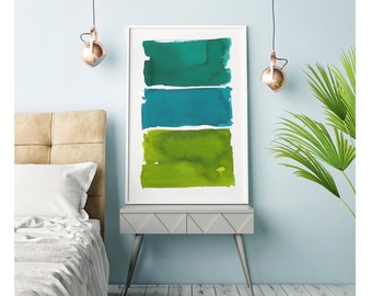 Abstract Art, Watercolor Painting, Watercolor Print, Large Wall Art, Oversized, Green Abstract Painting, Abstract Print, Minimalist Art