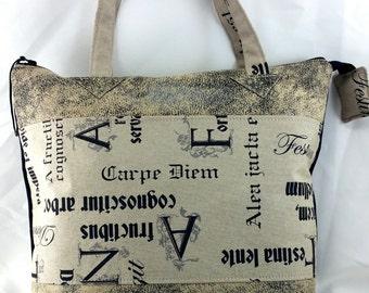 "ecru carrier bag  ""Carpe diem"", used leatherette."
