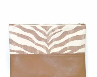Clutch / Oversize Clutch Bag /  Fold over Clutch Bag / Clutch Purse / Evening Bag / Handbag / Purse / Tan and Natural