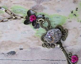 Brass Key Rose Necklace Hand Crafted Antiqued Brass Steampunk Pendant Necklace Key Pink Roses Watch Movement Oval Chain