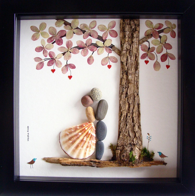 Wedding Art Gifts: Wedding Gift Pebble Art-Unique Engagement Gift-Personalized
