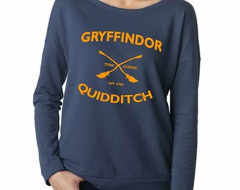 Gryffindor Quidditch Shirt Long Sleeve TShirt sweatshirt french terry - Size S M L XL