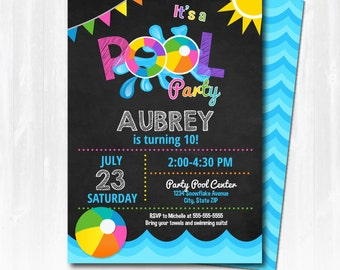 Pool Party Invitation - Swimming Pool Birthday Party - Girl Pool Party - EDIT at home NOW  with Adobe Reader!!! -Sugar Shebang