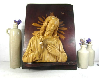large French vintage religious wall plaque, Chalk ware Jesus on wood, religious icons, church salvage, religious gifts, French antiques.