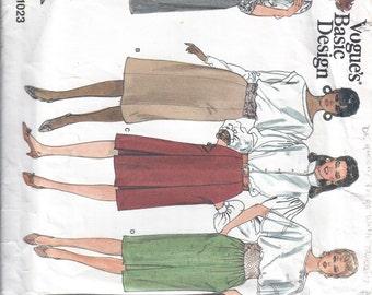 1987 Misses Skirt Pattern, Basic Design, Vogue 1023, Size 12-14-16