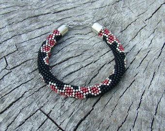 Fairytale gift Hexagon bracelet Red black bracelet Honeycomb Geometric bead rope bracelet Classic Molecule bracelet Beadwork jewelry women