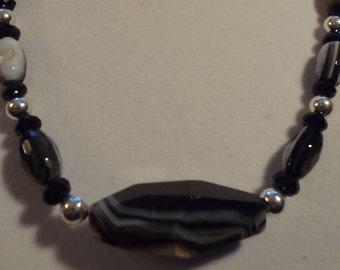 Black agate necklace.