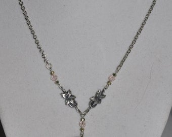 Necklace Silver Silhouette Woman Leaf Woodland Pink Green Crystal Chain #176
