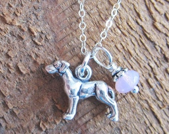 Great Dane Necklace- Glass Bead Sterling Silver Custom Necklace (Your Choice of Color and Initial)