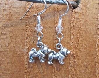 Chow Sterling SIlver Mini Dangle Earrings