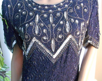 Vintage 80's Blue Sequin Beaded Lawrence Kazar Party Dress