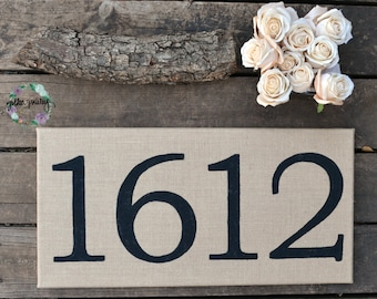 Housewarming Gift Burlap House Number Sign Wall Art Wall Decor Home Decor New Home Gift Wedding Gift First House Wall Hanging Gallery Wall