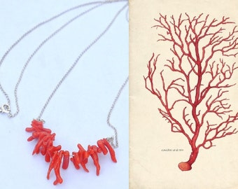 Necklace made from sterling silver 925 and a row of red coral beads