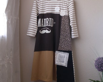 Patchwork Block Dress/ Upcycled Madrid Cotton T-Shirt Dress/ Large to XLarge
