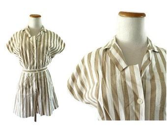 80s Romper Womens Romper Striped Romper Playsuit Onesie Beige White Romper Cute Hipster 1980s Size Medium