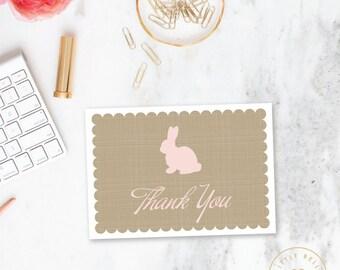 Girl Baby Shower Thank You Card Folded / Folded Bunny Baby Shower Thank You Card / Pink / Printable