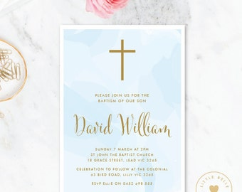 Boy Baptism Invitation Printable / Boy Christening Invite / Cross / Blue / Watercolor