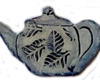 Dedham Pottery style Teabag ornament with Cobalt blue decoration.