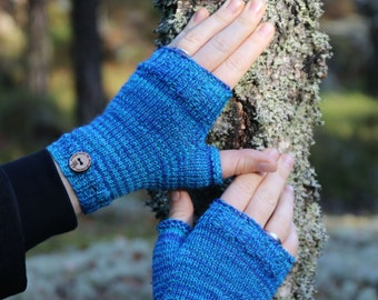 Fingerless mittens, handknit fingerless gloves, wrist warmers, one-of-a-kind - fine yarn and snug fit, blue, for her or him