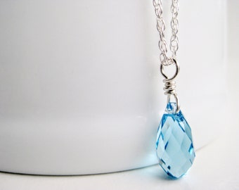 Aqua necklace, sterling silver, Swarovski crystal pendant, light blue tear drop necklace, wire wrapped gift