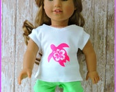 Doll Shirt  Sea Turtle  with Hibiscus flower fits  dolls such as 18 inch AmericanGirl Doll, Lea,  Nautical shirt, Doll Clothes