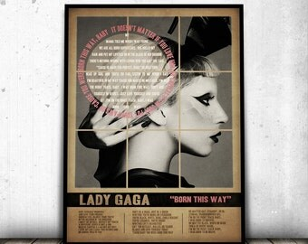 LADY GAGA POSTER, Born This Way Song Lyric Art Print, Lady Gaga Art Print, Retro Vintage Poster , Gift For Him, Gift For Her