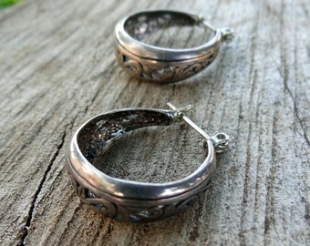 Sterling Silver hoop carved earrings
