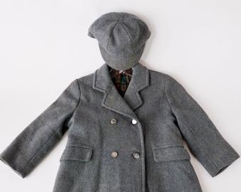 Vintage Printemps Paris boy's Coat and Cap- 1960s Vintage Wool